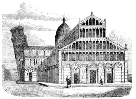 black maria: Vintage engraving of Pisa cathedral with the leaning tower, dedicated to the Assumption of the Virgin Mary, in the Piazza dei Miracoli in Pisa, Italy. built in XI century in Pisan Romanesque architecture with byzantine and Islamic influences.