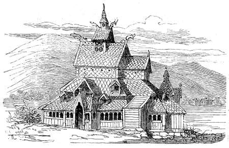 stave: vintage engraving of the medieval wooden Christian church of Borgund in Norway also named Borgund stave church, completed in XII century on a basilica shape with steeply pitched roofs covered by shingles