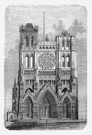 minster: Vintage engraving of  Saint Peter in York  known as York Minster in York, England.Built in Early English perpendicular style completed in XV century Stock Photo