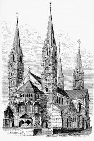dom: Antique engraving of Bamberger Dom St. Peter und St. Georg, Bamberg - Germany cathedral built in XIII century in Romanesque and Gothic style