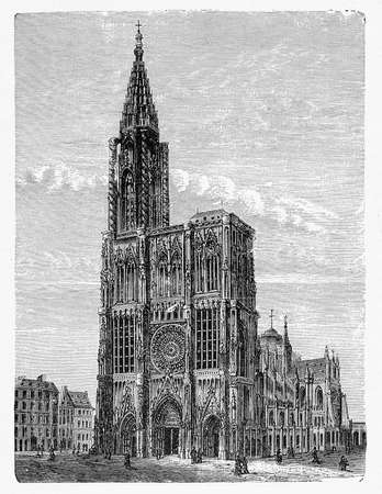 Vintage engraving of Strasbourg Cathedral in France, built in  Romanesque and Gothic architecture decorated with thousands of carved figures, completed in XV century.