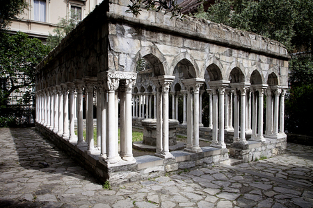 Genoa, Italy suggestive view of the ruins of St. Andrew cloister built in XII century in gothic architectural style