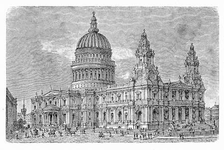 St Pauls Cathedral in London, rebuilt in limestone  and baroque style after the Great Fire of  1666, is an Anglican cathedral, the seat of the Bishop of London and the mother church of the Diocese of London. Stock Photo