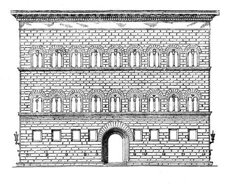 ancient civilization: vintage engraving of Palazzo Strozzi was begun in 1489 by Benedetto da Maiano, for Filippo Strozzi the Elder as a status symbol to prove his prominence over the Medici family. Stock Photo