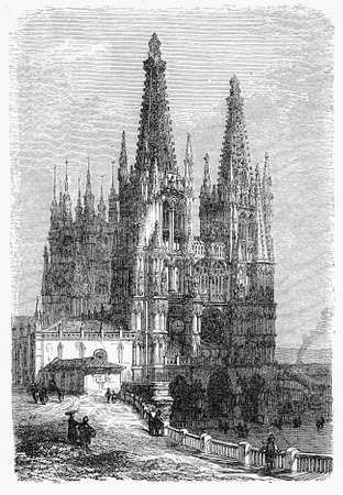 Vintage engraving of Cathedral of St. Mary of Burgos in Gothic style, dating 1221 Stock Photo