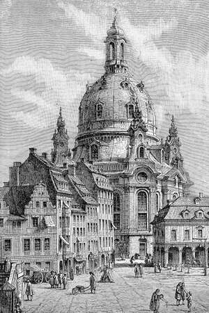 The Dresden Frauenkirche is a Lutheran church in Dresden built in the XVIII century in baroque style with one of the largest dome in Europe. It was completely destroyed during WWII and rebuilt after the reunification of Germany Stock Photo