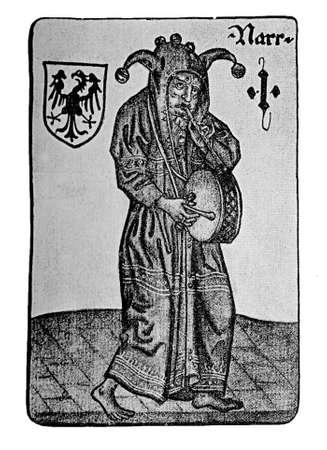 soothsayer: German Tarot XV century: the Fool (with tambourine)