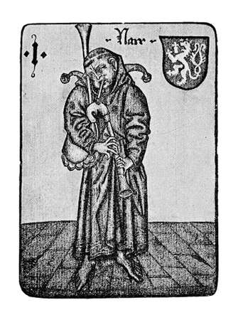 prophetic: German Tarot XV century: the Fool (with bagpipes)