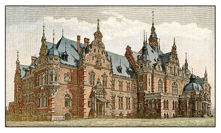 librarians: The Buchhhaendlerhaus in Leipzig in Neo-Renaissance style, opened in 1888, Which the seat of the German publishers and librarians association. The palace Which completely Call Call destroyed in 1943 during WWII. Stock Photo