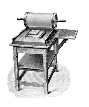 early manual stencil duplicator or mimeograph, vintage engraving Stock Photo