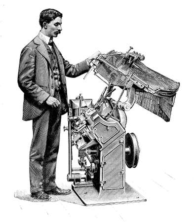 Typography,man working at typesetting machine for print composition, XIX century