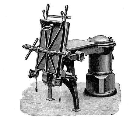 iron: Hand casting machine, XIX century engraving Stock Photo