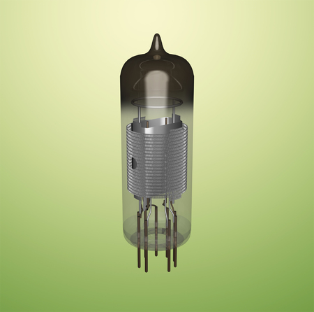 Vintage triode tube, consisting of a grid electrode added to a thermionic diode. 3D rendering. Фото со стока