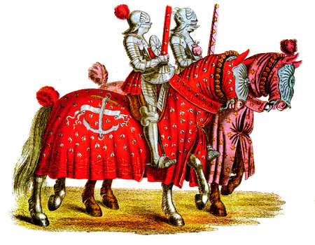 Two knights at the tournament, copy from Tournament book by Hans Burgkmair, XVI century Stock Photo