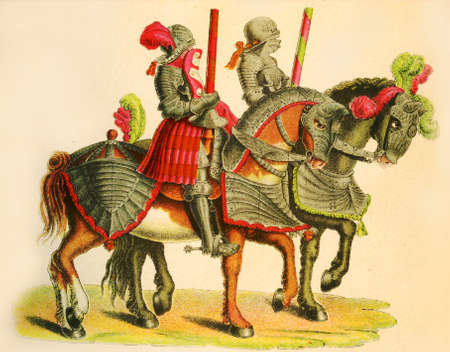 joust: Two knights at the tournament, copy from Tournament book by Hans Burgkmair, XVI century Stock Photo
