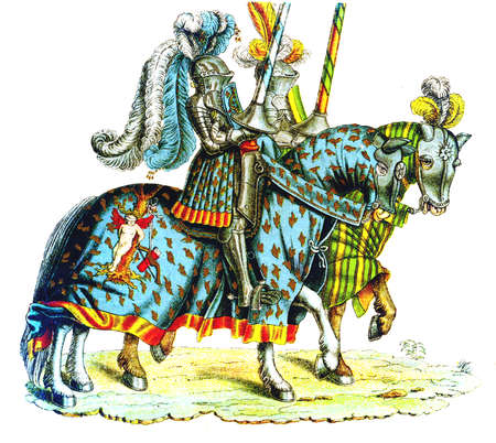 knightly: Two knights at the tournament, copy from Tournament book by Hans Burgkmair, XVI century Stock Photo