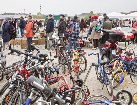 Munich, great choice of used bicykles on sell at the open air giant flea market,the biggest flea market of Bavaria, more than 2000 market stalls just for one day in spring. You find everything, very cheap.