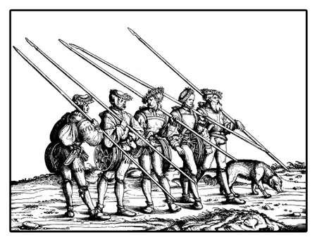 Chamois hunters from Triumph of  Maximilian I, monumental woodcut prints from many artists of  XVI century Stock Photo