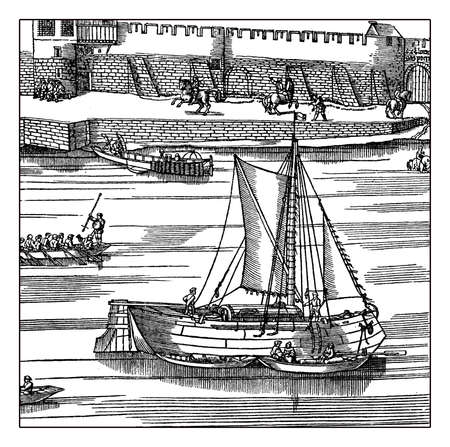 navigating: Germany, medieval sailing boats navigating the Rhine river under the defensive walls of Cologne, XVI century engraving