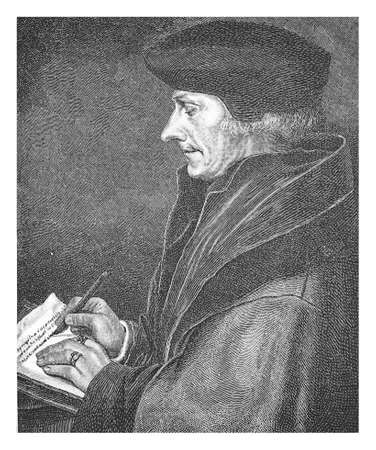 humanist: Erasmus of Rotterdam, engraving from Hans Holbein the Young portrait, XVI century Stock Photo