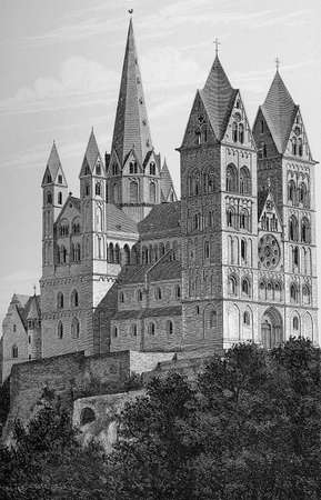 Germany, Limburg cathedral dedicated to Saint George built in XIII century in Romanesque style as three-aisled basilica with Gothic elements