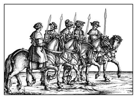 roman empire: Wild boar hunters from Triumph of  Maximilian I, monumental woodcut prints from many artists of  XVI century