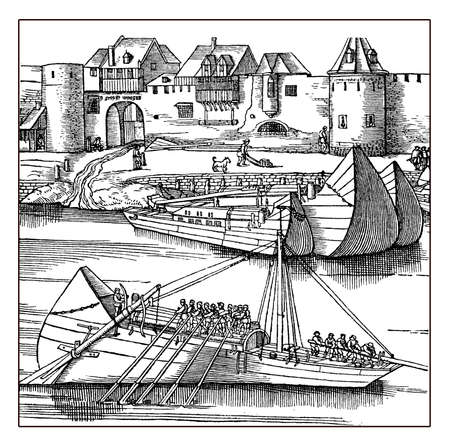navigating: Boats navigating the Rhine river under the walls of Cologne, XVI century engraving