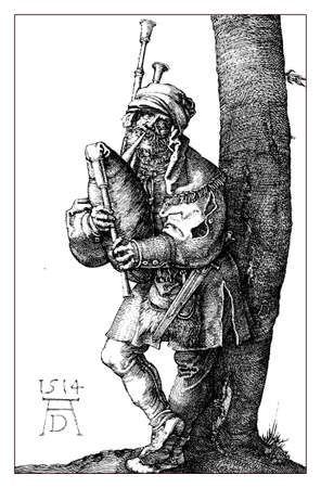 A.D. 1514: medieval pipes player, by Albrecht Dürer, engraving