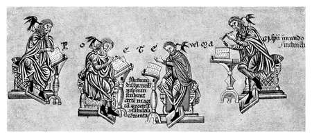poems: XII century: poets creating and declaiming their verses at lectern