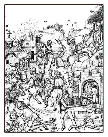 XV century: aggression and plundering of a village, medieval engraving