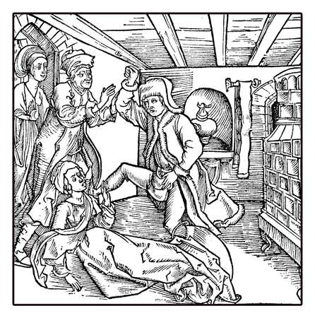 marital: XV century couple, man arguing with violence and friends coming to appease
