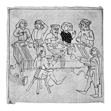 conversating: XV century: happy middle-class company at the table