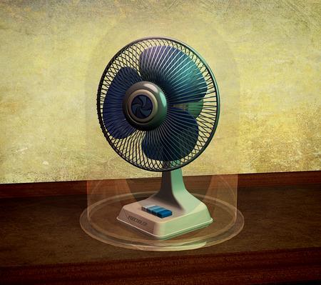 Vintage cooler fan under a glass bell, on grunge background, 3D rendering