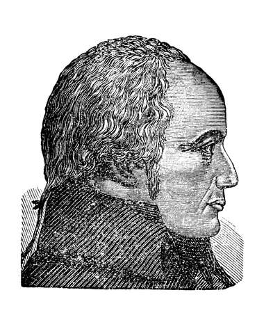 phisician: Franz Joseph Gall founder of phrenology, a pseudoscience about the brain localization of mental functions, vintage engraving portrait