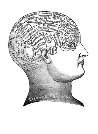 about: Alternative and pseudo-medicine: phrenology cart  about the brain localization of mental functions, vintage engraving