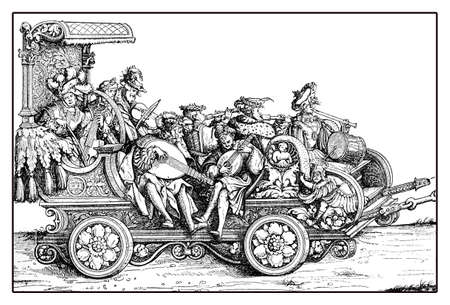 royal: Chariot with minstrels and musicants playing on a richly decorated carriage in festive procession from Hans Burgkmairs Triumph of  Maximilian I, monumental woodcut prints from many artists of  XVI century Stock Photo
