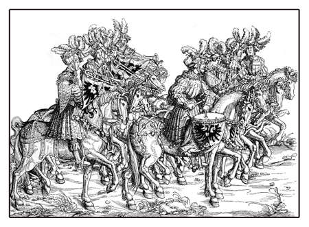 roman empire: Horseback trumpeters and drummer in festive procession from Hans Burgkmairs Triumph of  Maximilian I, monumental woodcut prints from many artists of  XVI century