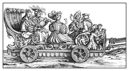 Chariot with trumpets and horns in festive procession from Hans Burgkmairs Triumph of  Maximilian I, monumental woodcut prints from many artists of  XVI century Stock Photo