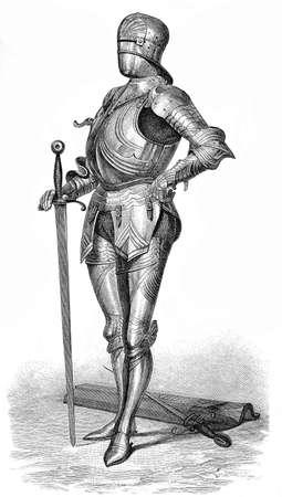 xv century: Medieval German armor with sword and visorless war helmet