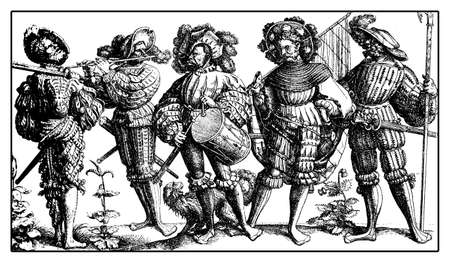 mercenary: Lansquenet formidable and colorful mercenary soldiers on foot with drum,flute,weapons and standard, from Daniel Hopfer engraving, XVI century Stock Photo