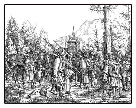 triumphal: Troops with baggage on foot in procession from Hans Burgkmairs Triumph of  Maximilian I, monumental woodcut prints from many artists of  XVI century