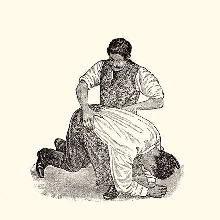 burp: vintage illustration, how to hold and treat a drunk man Stock Photo