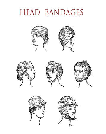 vintage illustration, how to bandage an injured head or eye Stock Photo