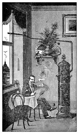 stove pipe: Vintage illustration, Wood- or coal stove with proper ventpipe (and heavy-duty smoker without it :)