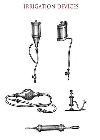 rectal: vintage illustration, rectal irrigation devices