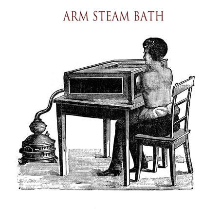 vintage illustration, arm steam bath (partial sauna :-) Stock Photo