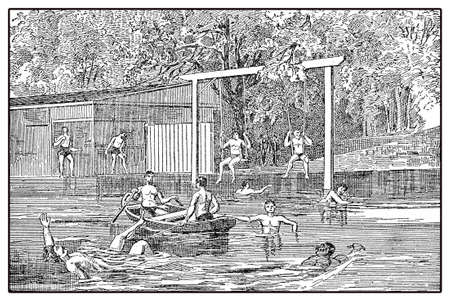 activewear: Sun-, air- and waterbath for men, vintage illustration Stock Photo