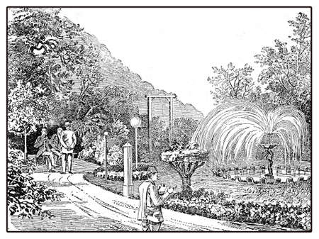 Sanatorium garden,vintage illustration of one of the many private health establishment in Germany in XIX century Stock Photo