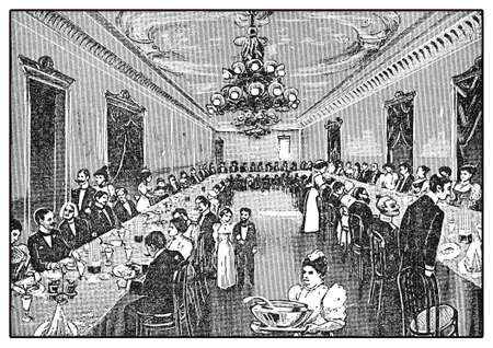 sanatorium: Sanatorium dining hall, vintage illustration of one of the many private health establishment in Germany in XIX century