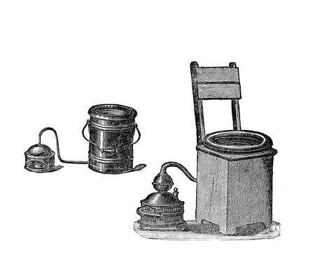 Sitting steam-bath equipment, vintage illustration